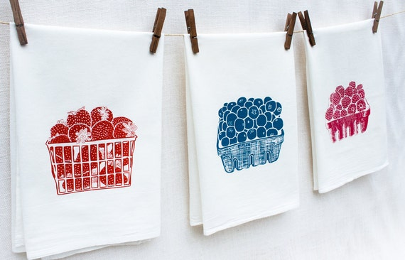 Set of Three Berry Flour Sack Dish Towels