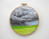 Embroidery Hoop Art - Thunderstorm Landscape Painting - Unique Wall Decor - Made to Order