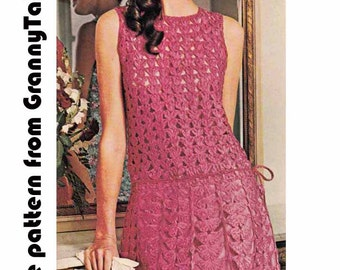 Lacy Boho Dress, 1970s VINTAGE CROCHET PATTERN, Retro/Hippie Party/Club, Pink Goddess Dress, Instant Download Pdf from GrannyTakesATrip 0041