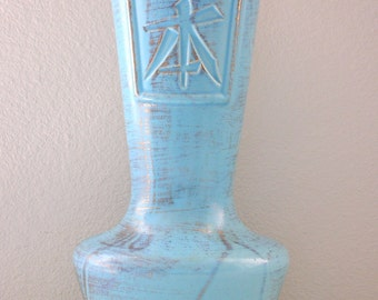 "12"" Tall Powder Blue Tweed Mid Century Tall Vase Asian Turquoise & Gold Tweed TALL Large Genie Vase Robins Egg Blue"
