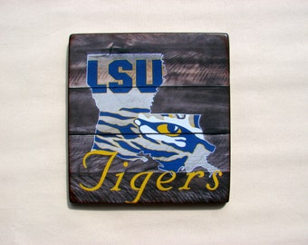 LSU distressed wood plaque, 12x12, originial design, gift, football, tigers, wood sign