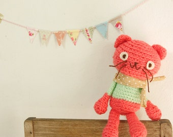 Crocheted Amigurumi Cat, Pussy Cat Stuffed Doll/Toy - Coral Pink with Mint Green top, Pink Cat, Pink and green