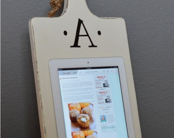 Wood iPad Stand - Cutting Board Style Cookbook Holder - Housewarming Gift - Wedding - Mothers Day - Bridesmaid