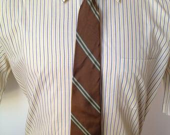 Vintage MENS Plant-Kerger Co brown, yellow & blue diagonal striped tie
