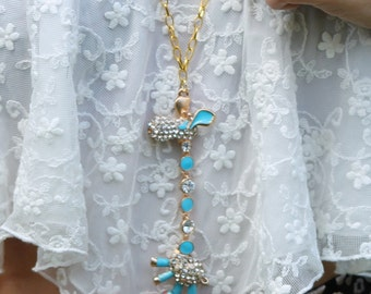 Giraffe Necklace Gold Tone Link Chain Animal Blue Cute