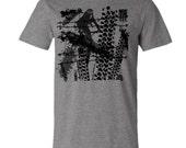 "Mountain Bike T-shirt""Tracks""-Bicycle tshirt in Heather Grey-Mountain bike tracks-Bike gift"