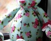 Handmade OOAK artist pink floral and pastel green teddy bear. A special custom order made from something special.