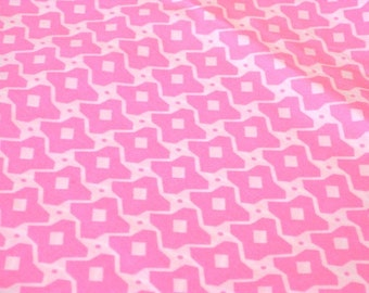 """Vintage Fabric - Hot Pink & White Abstract Pattern - By the Yard x 44""""W - 1970's - Retro - Sewing Material - Craft Supply - Yardage"""