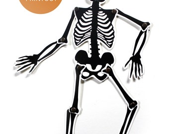 DIY Halloween Skeleton Puppet Paper Doll