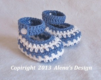 Crochet Pattern 076 - Crochet Baby Shoes - Jack & Jackie Baby Boy - Baby Girl - Red Shoes with Flower - Blue Shoes - Mary Jane Shoes Booties