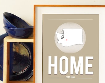 Home Map - Home Decor Prints- Anniversary Gift For Parents- New Home Gift- Custom Home Print - Wall Art Print - Dorm Wall Decor - Typography