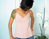 CLEARANCE SALE, Pink tank top, Sheer tank top, Open back top