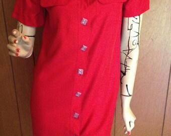 Red Silk Western Shirt Dress Size Small