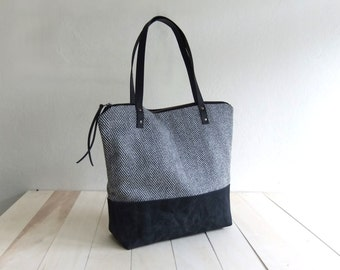 Large Zippered Black  Waxed Canvas Tote Bag Black Tweed Black Leather Straps Handmade Shoulder Tote Bag Red Lining Women Handbag