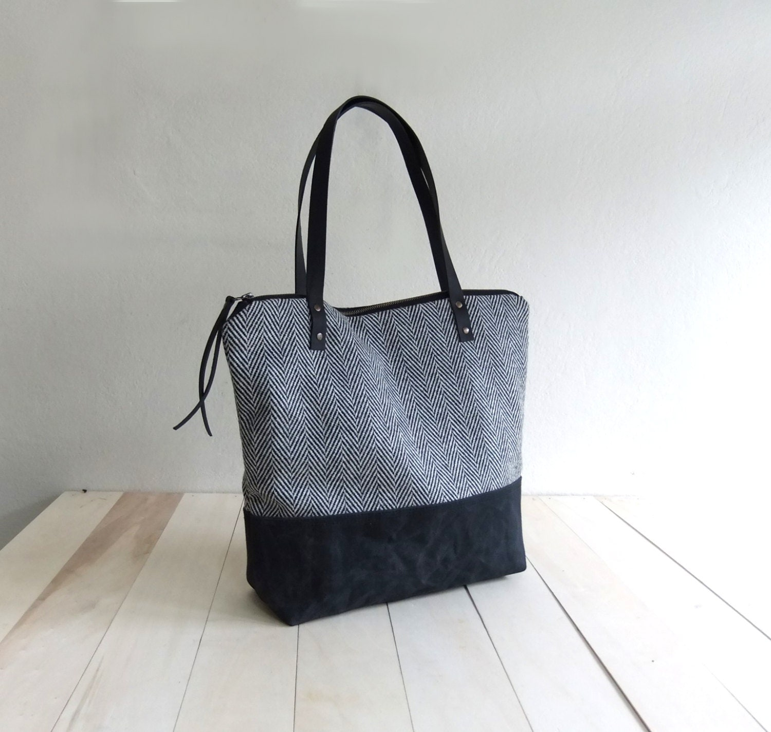 Large Zippered Black Waxed Canvas Tote Bag Black Tweed Black