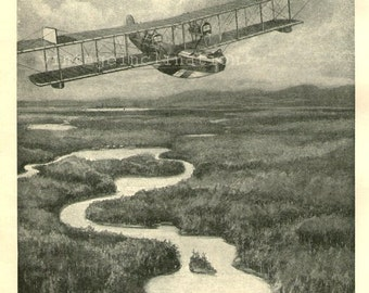 Antique Print, 1920, The Fire Brigade That Goes By Air, aeroplane aircraft, planes, plane, flying, flight