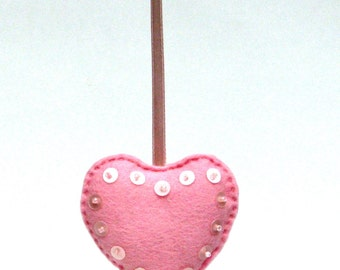 CLEARANCE - Christmas felt heart ornament - pink rose sequins glass beads