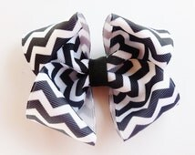 Black white Chevron print hair bow--3.5 inch big boutique bows for baby toddler girls--simple accessories