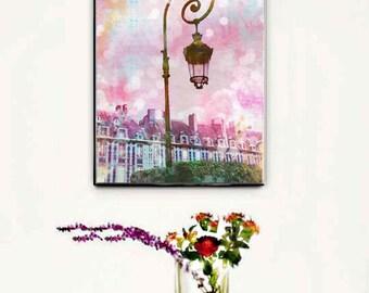 Paris Wall Art Canvas, Pink Paris Wall Art, Paris Canvas Decor Pink, Paris Watercolor Place des Vosges, Girls Room