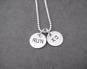 RUN XC Sterling Silver 2 Disc Cross Country Necklace - 16, 18 or 20 inch Sterling Silver Ball Chain - Cross Country Necklace - XC Team Mom