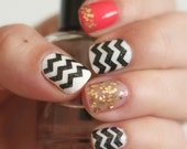 NAILED IT DECALS: 1 Sheet of 44 Skinny Chevron Nail Decals (You Pick the Color)