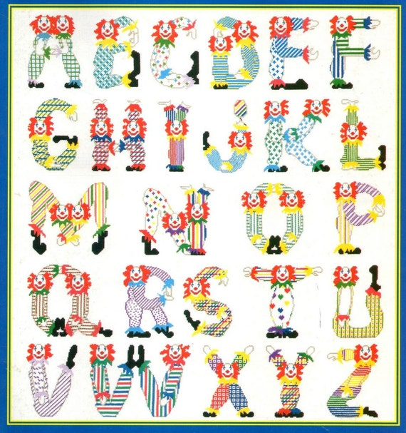 Clown Alphabet Cross Stitch Pattern ABCs Booklet Baby