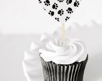 Kitty Cat Paw Prints Heart Cupcake Toppers Black and White Birthday Party Decor for Boys or Girls, Baby Showers or Other Parties Set of 12