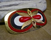 SALE 70s Buckle Red White and Blue on Mod Oversized Gold Tone Womens Retro Belt Buckle America Bicentennial 1976 Collectible Americana USA