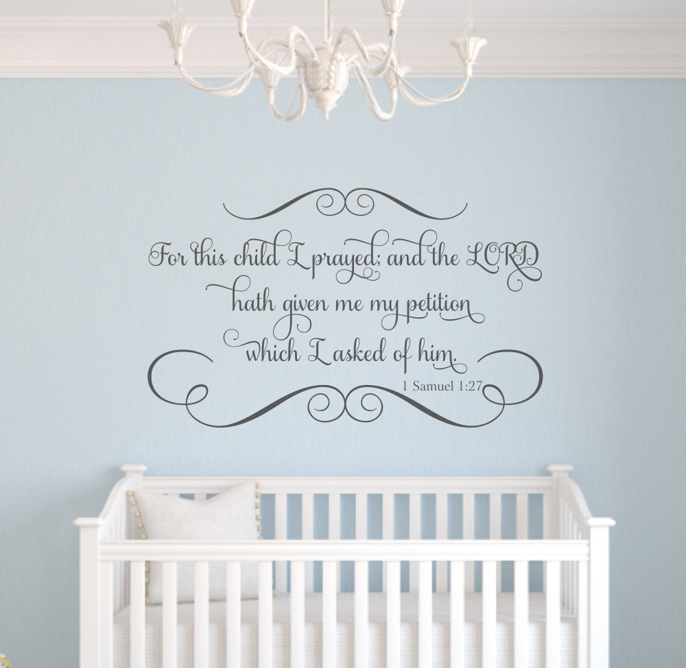 Vinyl wall decal scripture : For this child i prayed scripture vinyl wall decal bible verse