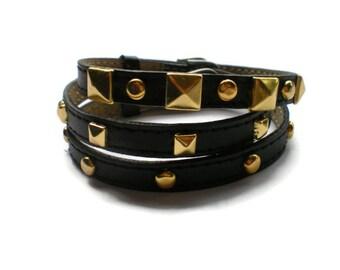 Leather Wrap Bracelet - Genuine Black Leather Wristband - Studded Black Buckle Bracelet - 3 Bracelets In 1