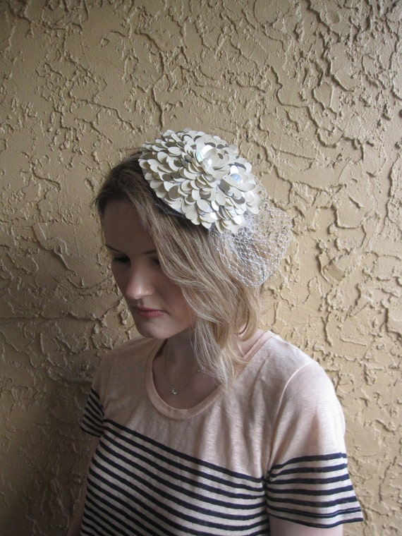 Champagne and Silver Petal Flower Fascinator Hat with Veil and Pearl Headband for weddings, bridesmaid, parties, cocktail, special occasions