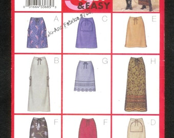 Butterick 3201 Fast and Easy BOHO Skirts A Multitude of Variations, Sizes 8, 10, 12, UNCUT
