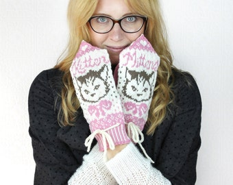 Kitten Mittens - Mitten Pattern - Knitting Pattern - Pink & White Whimsical Mittens - Pattern PDF