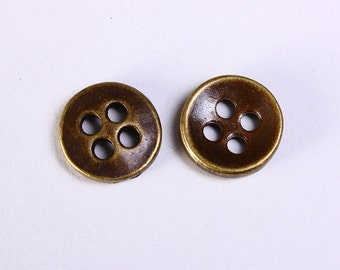 11mm antique brass button - 11mm round button - 4 holes round button - 10 pieces (1149) - Flat rate shipping