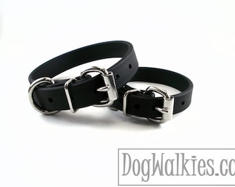 "Jet Black 3/4"" (19mm) Wide Beta Biothane Dog Collar - Leather Look and Feel - Custom Dog Collar - Stainless Steel or Solid Brass Hardware"
