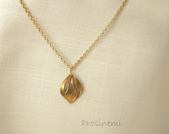 Leaf necklace, double gold plated leaf pendant, handmade, for her, nature jewellery, fall pendant, autumn fashion