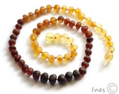 Unpolished Baltic Amber Adult Necklace Rounded Rainbow Color Beads
