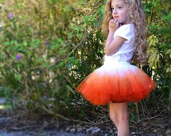 Unique Ombre Sewn Tutu, Fades from Snow White to Pumpkin Orange, Ready to Ship