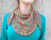 Knitted Scarf or Shoulder Shawl, Bright Jewel Tone, Wrap, Cotton, Headwrap Kerchief