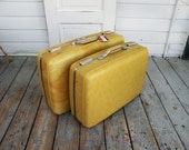Two Gorgeous Mustard Yellow Vintage Suitcases / American Tourister Luggage