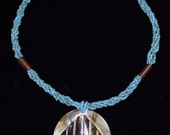 NECKLACE pearl SHELL summertime maritime round blue beads chic elegant awesome stunning feminine OOAK