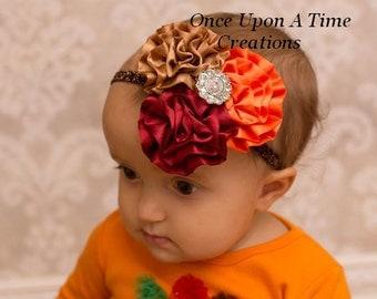 Autumn Trio Satin Flower Headband - Brown Pumpkin  Mulberry Girl's Headband - Fall Hair Bow - Gorgeous Baby Girl Sparkle Hairbow