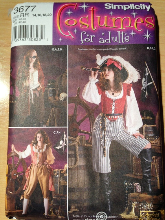 Simplicity Sewing Pattern 3677 Misses Pirate Costume Size 14 - 20