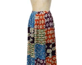 vintage 1970's ERNST REIKO patchwork maxi skirt / festival boho bohemian / four season novelty print / women's vintage skirt / size medium