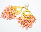 Pink sequin earrings, chandelier peach gold shimmery, boho chic, drop