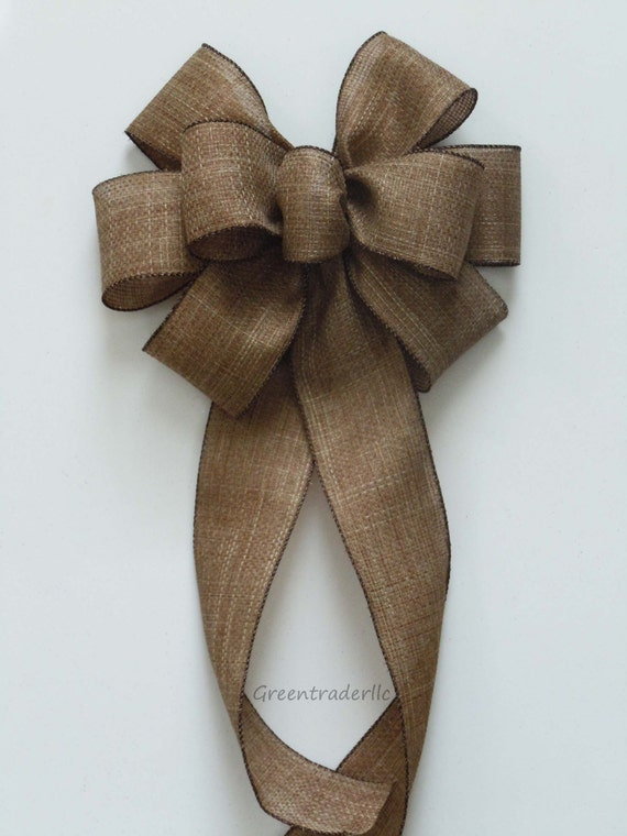 Rustic Burlap Wedding Pew Bow Rustic Fall Burlap Wreath Bow Vintage Burlap Wedding Bow Vineyard Wedding Church Bow Burlap Decor Chair Bow