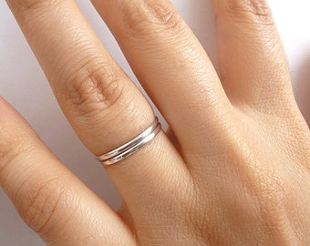 Set of 2 Stack Rings - Sterling Silver Rings  - Thin 1.5mm Rings - Custom Size - Slim Band Stack Rings - Dainty Stackable Rings
