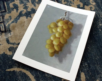 oil sketch Green Grapes on gessoed paper, still life oil painting