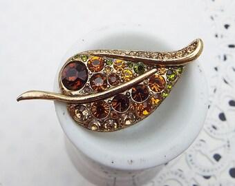 Harvest Leaf Rhinestone Goldtone Brooch Pin Topaz Brown Golden