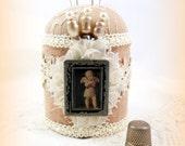 Angel cherub vintage // pincushion beige oatmeal cream charcoal black sewing craft room scrapbook Victorian vintage pearl straight pins tagt